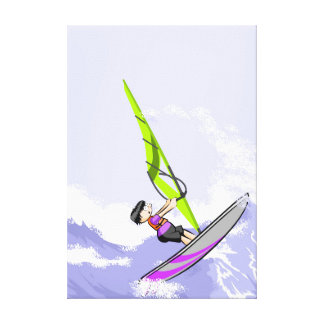 Young Windsurf sailing in turbulent waters Canvas Print