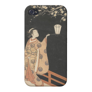 Young Woman Admiring Plum Blossoms at Night art iPhone 4/4S Cover