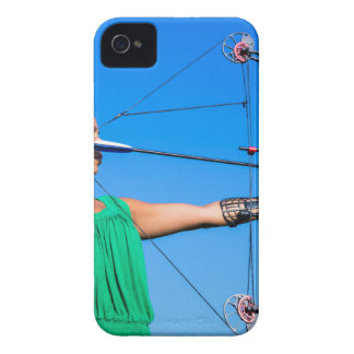Young woman aiming arrow of compound bow iPhone 4 Case-Mate case