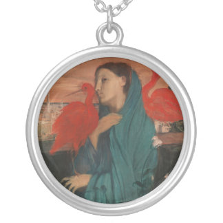 Young Woman and Ibis, Edgar Degas Silver Plated Necklace