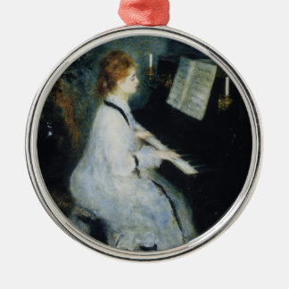 Young Woman at the Piano by Renoir Metal Ornament