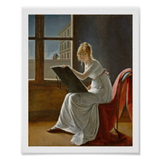 Young Woman Drawing Beside a Window Poster