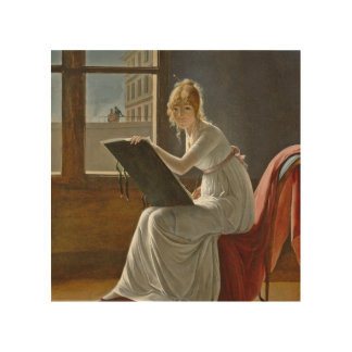 Young Woman Drawing Beside a Window Wood Canvases