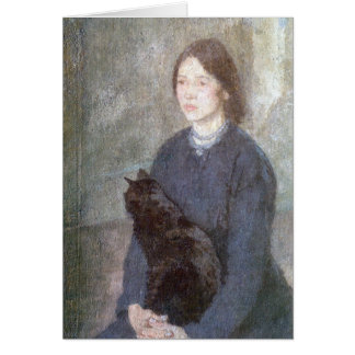 Young Woman Holding a Black Cat - Gwen John Card