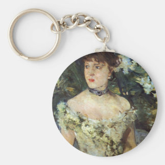 Young woman in a costume ball by Berthe Morisot Keychain