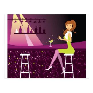 Young Woman in Nightclub Postcard