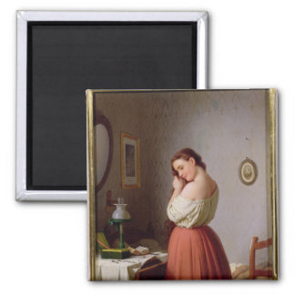 Young Woman Plaiting her Hair Square Magnet