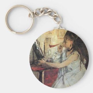 Young woman powdering her face by Berthe Morisot Key Chains
