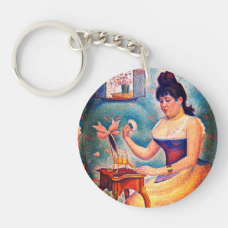 Young Woman Powdering Herself Double-Sided Round Acrylic Key Ring