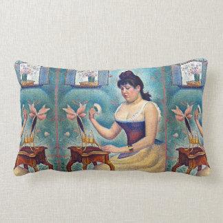 Young Woman Powdering Herself Lumbar Pillow