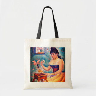 Young Woman Powdering Herself Tote Bag