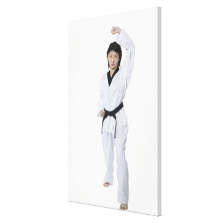Young woman practicing upper block gallery wrap canvas