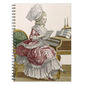 Young Woman Studying Music at her Harpsichord, pla Notebooks