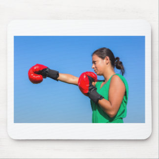 Young woman wearing red boxing gloves blue sky mouse pad