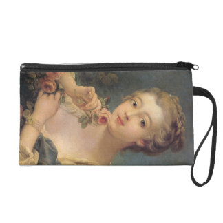 Young Woman with a Bouquet of Roses Wristlet Clutch