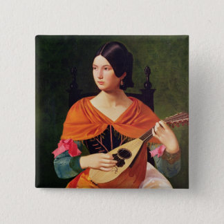 Young Woman with a Mandolin, 1845-47 15 Cm Square Badge