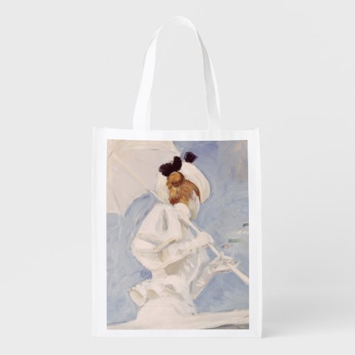 Young Woman with a Parasol on a Jetty Grocery Bags