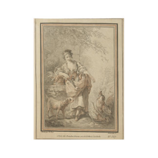 Young woman with dog  and hen, wood poster