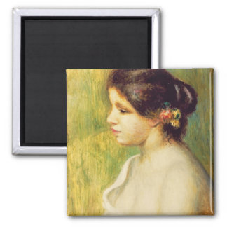Young Woman with Flowers at her Ear, 1898 (oil on Square Magnet