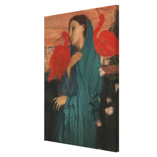 Young Woman with Ibis Canvas Print