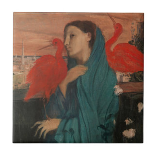 Young Woman with Ibis Ceramic Tile