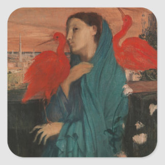 Young Woman with Ibis Square Sticker