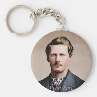 Young Wyatt Earp, colorized Basic Round Button Key Ring