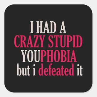 YouPhobia Black Square Sticker