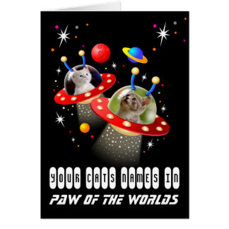 Your 2 Cats in an Alien Spaceship UFO Sci Fi Scene Card