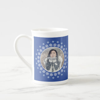 YOUR 2 PHOTOS & MONOGRAM Snowflake Frame mug