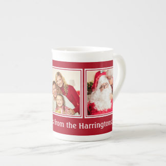 YOUR 3 PHOTOS & CUSTOM TEXT Christmas mug