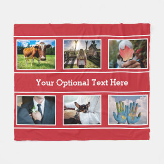 YOUR 6 PHOTOS & TEXT fleece blankets