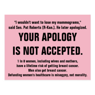 Your Apology is Not Accepted. Postcard