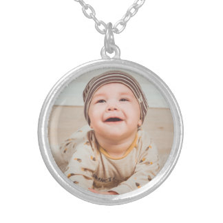 Your Baby Photo with Name Silver Plated Necklace