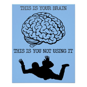 Your Brain On Skydiving Funny Poster Sign Print