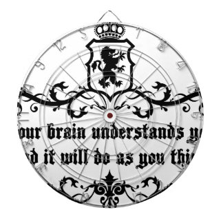 Your Brain Understands You Medieval quote Dartboard