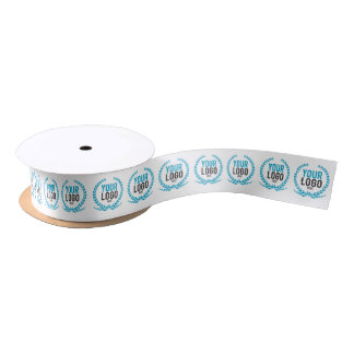 Your Business Logo All Over Patterned White Satin Ribbon