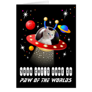 Your Cat in an Alien Spaceship UFO Sci Fi Scene Card
