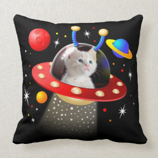 Your Cat in an Alien Spaceship UFO Sci Fi Scene Cushion