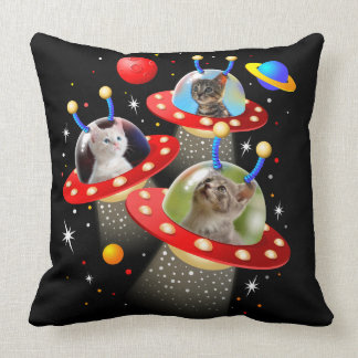 Your Cats in an Alien Spaceship UFO Sci Fi Scene Cushion