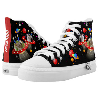 Your Cats in an Alien Spaceship UFO Sci Fi Scene High Tops