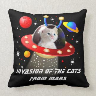 Your Cats in an Alien Spaceship UFO Sci Fi Scene T Cushion