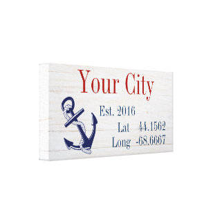 Your City or Family Name Latitude and Longitude Canvas Print