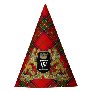 Your Coat of Arms Monogram and Tartan Party Hat