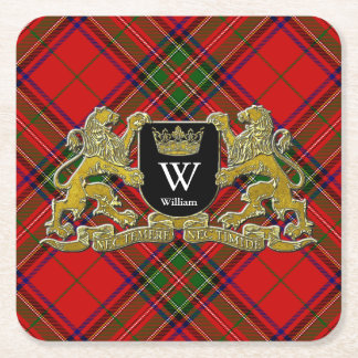 Your Coat of Arms Monogram and Tartan Square Paper Coaster