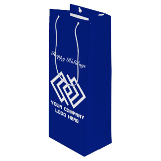 Your Company Holiday Party Logo Wine Gift Bag B