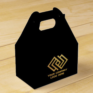 Your Company Logo Gable Favor Box Black