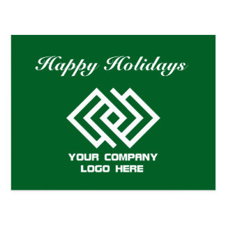 Your Company Logo Holiday Postcard Green