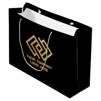 Your Company Party Logo Gift Bag Large Black