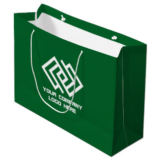 Your Company Party Logo Gift Bag Large Green